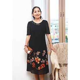 Đầm trung niên bigsize - Đầm suông voan hoa cổ tim TIFALU705
