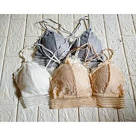 Áo Bra sợi bông viền ren form freesize, áo Bra cotton có mút lót from 40-60kg, K&L Store