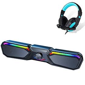 Loa Thanh Bluetooth Gaming Soundbar Có Led RGB Nổi Bật V197 Để Bàn Dùng Cho Máy Vi Tính PC, Laptop, Tivi + Tai nghe chụp tai cao cấp ( màu ngẫu nhiên )