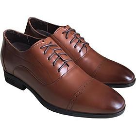 Giày tây nam tăng chiều cao Trường Hải cao 6.5cm da bò thật không bong tróc đế cao su không trơn GTN077