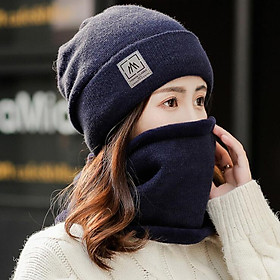 Mũ len kèm khăn lót lông thời trang nam nữ