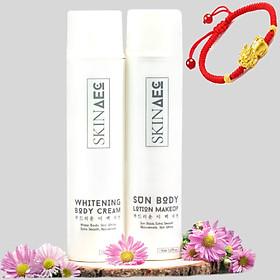 Combo Skin AEC Dưỡng Trắng Chuyên Sâu Sun Body Lotion Makeup(150ml) - Whitening Body Cream(150ml) + tặng kèm vòng tay Tỳ Hưu may mắn