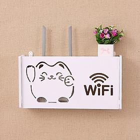 kệ wifi treo tường Lucky Cat không khoan chữ nhật  phù hợp với wifi xiaomi tplink viettel fpt