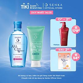 Bộ sản phẩm làm sạch dịu nhẹ dành cho da mụn Senka