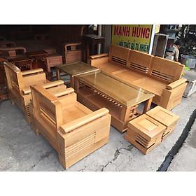 Bộ bàn ghế gỗ sồi tay chứng mặt liền