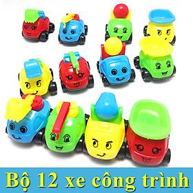 Bộ 12 Xe Công Trình dễ thương làm đồ chơi cho bé 4-6 cm (màu ngẫu nhiên) có khớp xoay và di chuyển được, độ bền tốt, giúp bé khám phá và nhận biết về các loại xe ô tô, xe ben, xe bồn, xe cẩu, máy xúc