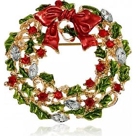 Ghim Cài Áo Pha Lê Hình Vòng Hoa Giáng Sinh