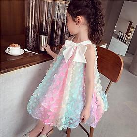 Váy đầm bé gái đính hoa nơ ngực cầu vồng cổ yếm 2 dây hàng