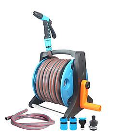Combo bộ vòi tưới cây, vòi rửa xe tăng áp có lô cuốn ống LionKing 10 mét ống trong  rulo và 1.5 mét ống cấp nước PR1015C