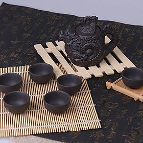 Bộ ấm chén trà hoạ tiết rồng phượng phụ kiện bàn trà trà đạo