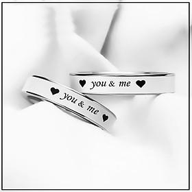 Nhẫn đôi  You & Me  ý nghĩa tình yêu inox màu sắc trắng sáng – 1 chiếc