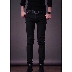 Quần jean dài nam đen tuyền -B01