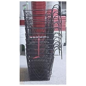 10 Giỏ Sắt 24x23cm Hình Vuông Màu ĐEN Treo Chậu Hoa Lan Can Ban Công