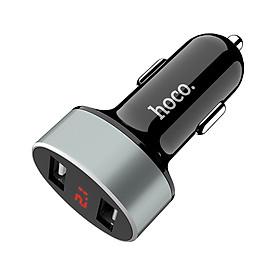 Tẩu Sạc Cho Ô Tô 2 Cổng USB, Bằng Nhựa PC-ABS Và Hợp Kim Z26 Hoco-Tặng Cáp Sạc Cho Chân Lightning- Hàng Chính Hãng