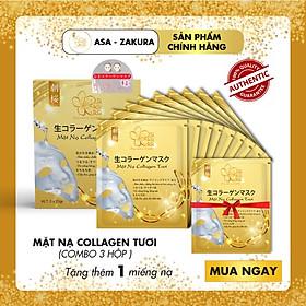 Combo 9 Túi Mặt Nạ Collagen Tươi dưỡng da Nhật Bản chống lão hóa,  trắng sáng da và giúp da mềm mịn săn chắc - Tặng 1 Túi Mặt Nạ Collagen