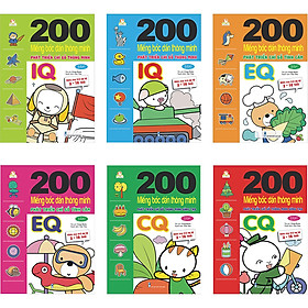 Combo 200 Miếng bóc dán thông minh 2-10 tuổi (Bộ 6 quyển)
