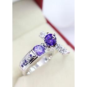 Nhẫn đôi bạc đính đá tím ND0285