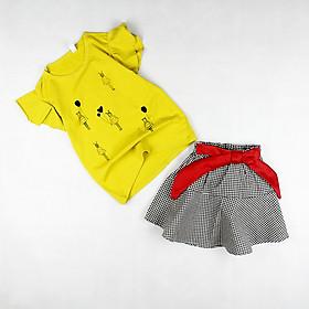 Set áo thun cánh tiên vàng in hình và váy kate caro cột nơ đỏ cho bé gái 1-6 tuổi từ 10 đến 22 kg 01545