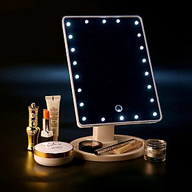 Gương trang điểm có đèn led (Màu hồng)