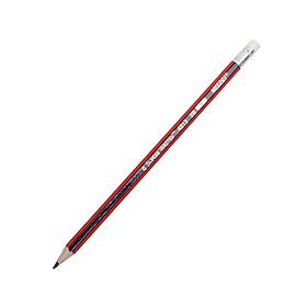 Bút Chì 2B Có Tẩy Thân Sọc Xanh Đỏ - Marco 4213E2B-12CB