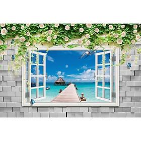 Tranh dán tường 3d cửa sổ biển và hoa hồng ép lụa kim sa có sẵn keo CS34