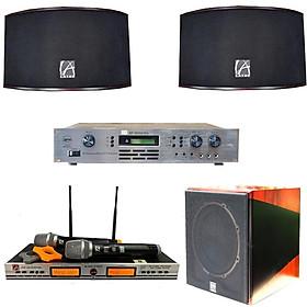 Dàn âm thanh karaoke gia đình Bfaudio Combo 4 món, vang số, loa, micro, loa Sub điện - Hàng chính hãng
