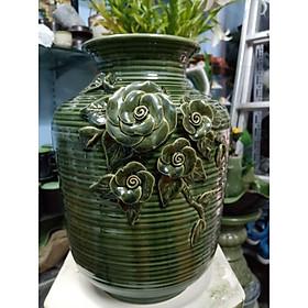 Bình hoa men hỏa biến đắp nổi gốm sứ Bát Tràng
