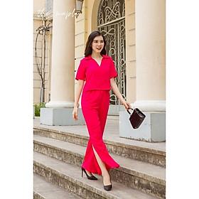 Bộ lụa dài mặc nhà cổ đổ nhẹ xẻ tà The Maple Màu hồng cánh sen 16