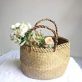 Giỏ Đệm Tròn Đựng Hoa, Đựng Trái Cây Trang Trí - Cổ Điển - Thiên Nhiên