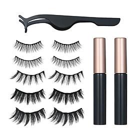 5 Pairs Magnetic Eyelashs Set Magnet Liquid Eyeliner& Magnetic Lashes & Tweezers Set Waterproof Long Lasting Eyelash