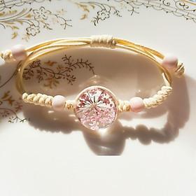 Vòng tay hoa khô màu hồng