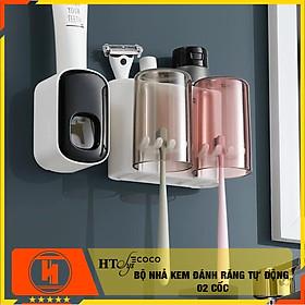Bộ dụng cụ nhả kem đánh răng tự động độc lập và giá treo bàn chải đa năng 02 cốc HT SYS-ECOCO-E1924 - chất liệu ABS cao cấp