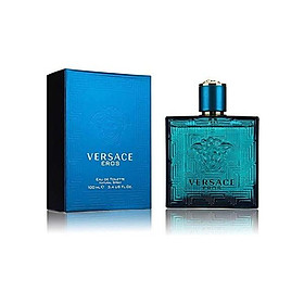 Versace Eros For Men 3 Pieces Hardbox Set (3.4 Ounce Eau De Toilette Spray+ 0.3 Ounce Eau De Toilette Spray +Versace Blue Trousse)