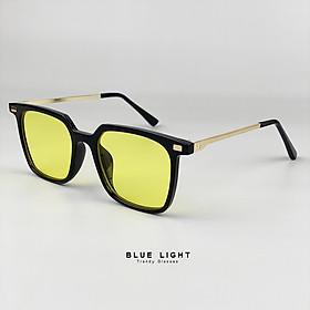 Kính Râm , Kính Mát Mắt Nam Nữ Dáng Vuông Mắt Màu Vàng Hàn Quốc - BLUE LIGT SHOP