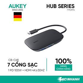 Hub Chia Cổng Type C AUKEY CB-C68 Mở Rộng 7 Cổng 1 Type C Power Delivery 100W 3 Cổng USB 3.1 (5 Gbps) 1 Cổng SD & 1 Cổng Micro SD - Hàng Chính Hãng