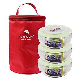 Bộ 3 hộp thủy tinh tròn HappyCook 400ml Kèm Túi Giữ Nhiệt HCG-03CE