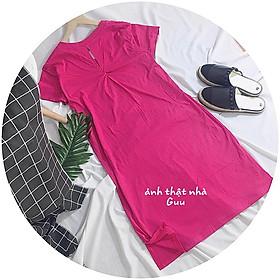 Đầm suông nữ cotton form rộng - Đầm suông xoắn lưng cổ tim - CM Shop