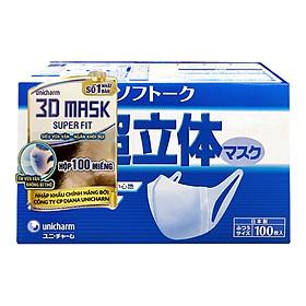 Combo Hộp Khẩu trang Unicharm 3D Mask Super Fit 100 miếng + 10 Bộ khẩu trang ngăn khói bụi Unicharm 3D Mask Super Fit gói 10 miếng