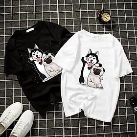 Áo thun Nam Nữ Không cổ HAI CON CHÓ CIMT-0013 mẫu mới cực đẹp, có size bé cho trẻ em / áo thun Anime Manga Unisex Nam Nữ, áo phông thiết kế cổ tròn basic cộc tay thoáng mát