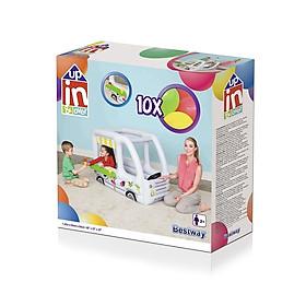 Đồ chơi nhà hơi hình ô tô buýt  tặng kèm 10 quả bóng  và 2 khuôn kem hình ốc quế