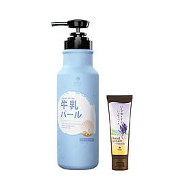 Combo Kem dưỡng da tay chiết xuất Lavender và Sữa tắm Hasi Kokeshi dưỡng ẩm, trắng da chiết xuất Cow Milk - Pearl