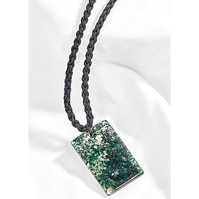 Mặt dây chuyền băng ngọc thủy tảo vuông xanh lá Ngọc Quý Gemstones