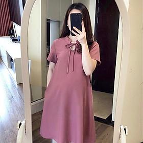 Váy bầu hồng đất cộc tay