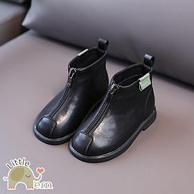 Giày bốt da màu đen cho bé gái