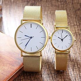 Đồng hồ cặp đôi thời trang nam nữ Gnv1 mặt tròn dây kim lưới kim loại.