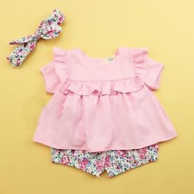 Bộ quần áo bé gái chất đũi quần hoa kèm tuban cho bé từ 7kg đến 20kg