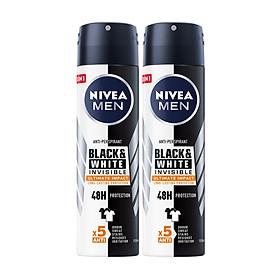 Combo 2 Xịt Ngăn Mùi NIVEA MEN Black & White Ngăn Vệt Ố Vàng Vượt Trội 5in1 (150ml) - 85388