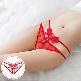 Quần lót sexy ren nữ lọt khe hạt châu - Màu đỏ