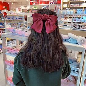 Nơ cài tóc đỏ tiểu thư lụa to phong cách Hàn Quốc