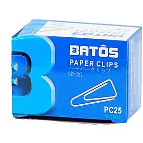 Ghim giấy tam giác Batos PC-25 - Hộp 100 chiếc, hợp kim sắt không gỉ, tiện dụng trong văn phòng - Set 10 hộp